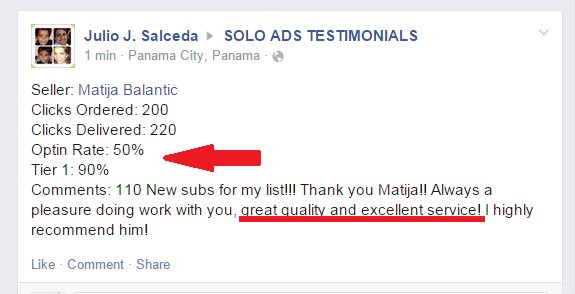 solo ads results